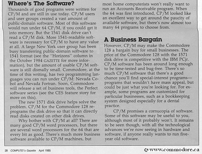 what is cpm-dos-competitor-compute_april-1985